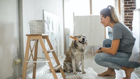 Hund sitter med malekost i munnen, ved siden av en kvinne.