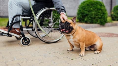 En mann i rullestol sammen med hunden sin.