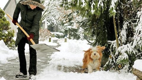 Mann som måker utenfor huset med hunden sin.